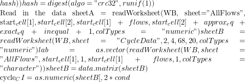 "hash))   	hash = digest(algo=""crc32"", runif(1))      ## Read in the data   sheetA = readWorksheet(WB, sheet=""AllFlows"", start_cell[1], start_cell[2] ,start_cell[1] + flows, start_cell[2]+approx_eq+exact_eq+inequal+1, colTypes=""numeric"" )   sheetB = readWorksheet(WB, sheet=""CycleData"", 2, 4,68, 20, colTypes=""numeric"" )   lab = as.vector(readWorksheet(WB, sheet=""AllFlows"", start_cell[1], 1,start_cell[1]+flows, 1, colTypes=""character"" ))   sheetB = data.matrix(sheetB)      cycle_CI = as.numeric(sheetB[,2*cond"